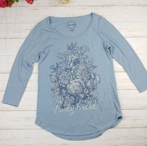 Lucky Brand Rose Print Graphic Tee